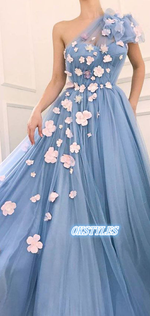 Elegant A-line One Shoulder Sleeveless With Applique Long Prom Dresses, OL041