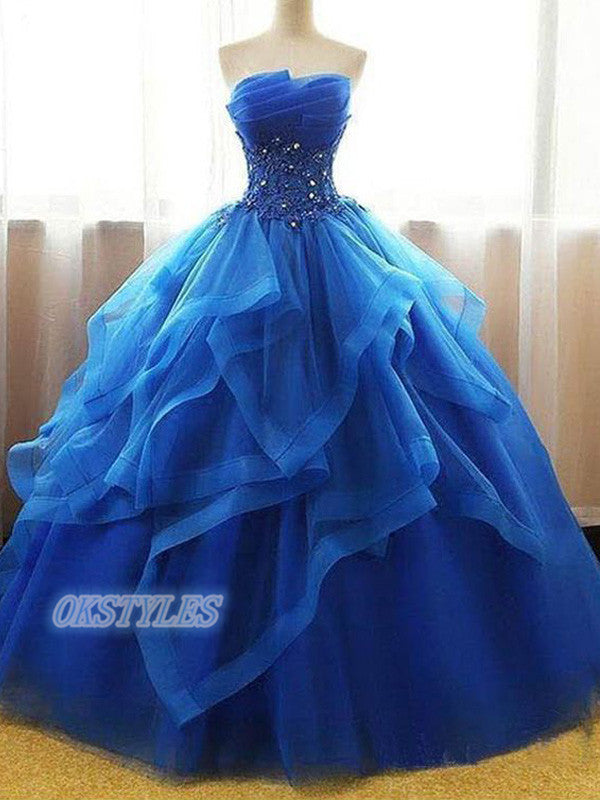Ball Gown Organza Sleeveless Lace Up Back With Beads Prom Dresses, OL046
