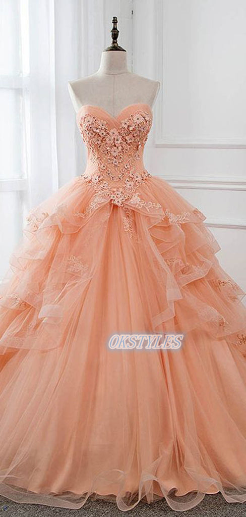 Beautiful Ball-Gown Sweetheart Lace Applique Long Prom Dresses, OL067