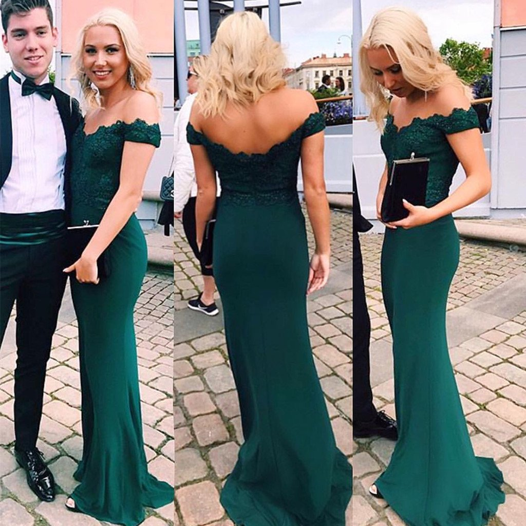 Mermaid Green Appliques off-shoulder floor-length sexy party dress, long Prom Dresses, PD0112