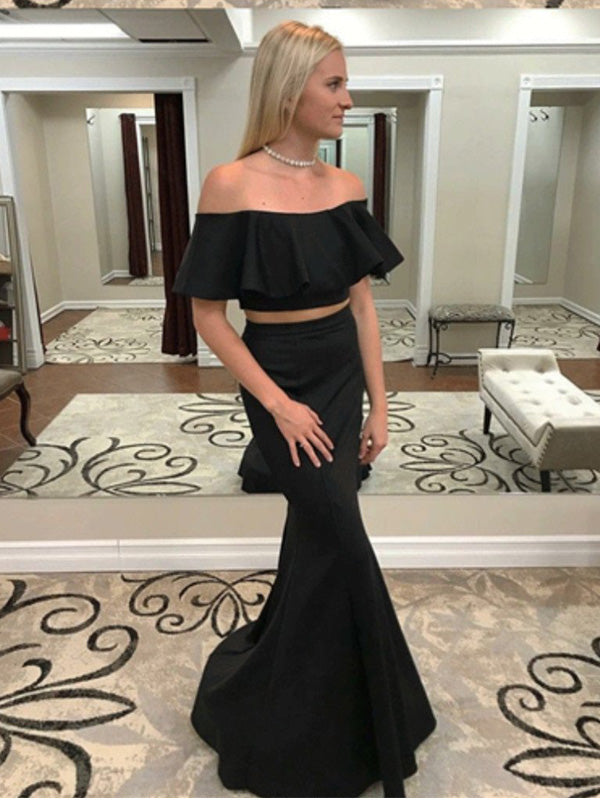Two Piece Mermaid Black Simple Prom Dresses With Ruffles , PD0542
