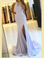 Mermaid Halter Simple Backless Prom Dresses With Split, PD0551