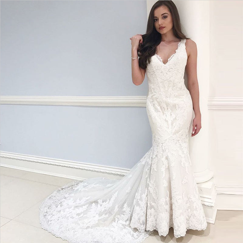 Newest Mermaid V-neck Sleeveless Lace Appliques Wedding Dresses with train, WD0383