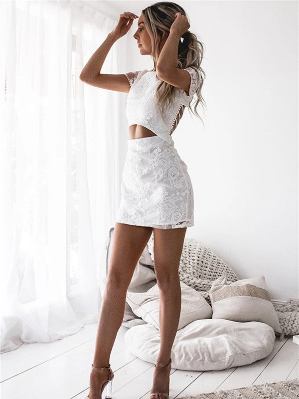 Sexy Backless Beaded V Neck Short Homecoming Dresses Online, CM677