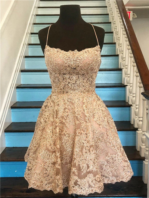 Round neck sleeveless backless applique tulle Short Prom Dress Party Dress, homecoming dresses,  HD0336