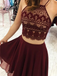 Halter Two-pieces Sleeveless Burgundy Chiffon Lace Homecoming Dresses, HD0536