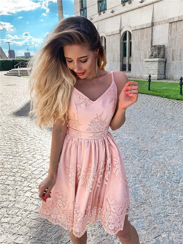A-line Spaghetti Straps Backless Short Pink Lace Homecoming Dresses, HD0539