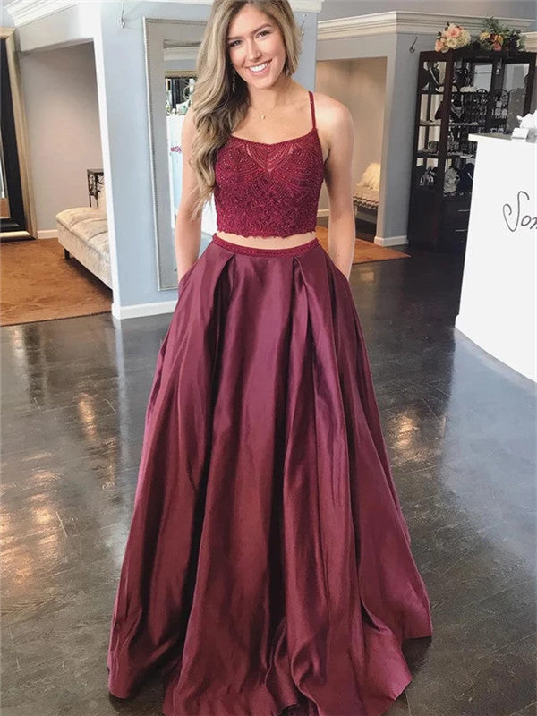 Two-pieces Halter Floor-length Beading Top Long Prom Dresses With Pocket, PD0555