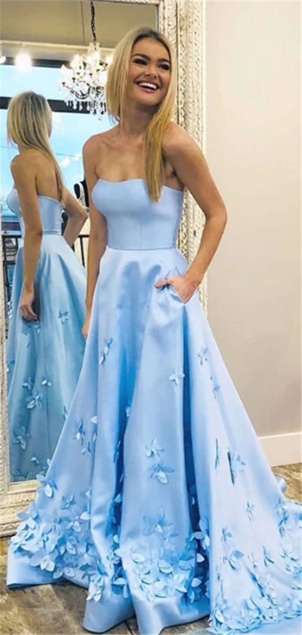 A-line Strapless Appliques Long Prom Dresses With Pockets, PD0557