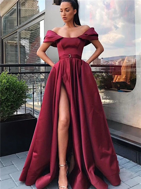 A-line Off-shoulder High Split Long Satin Prom Dresses With Pocket, PD0558