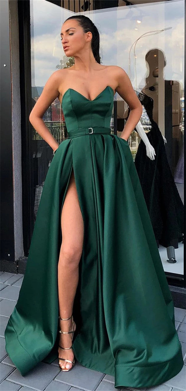 Sweetheart Green High Split Long Satin Prom Dresses With Pocket, PD0559