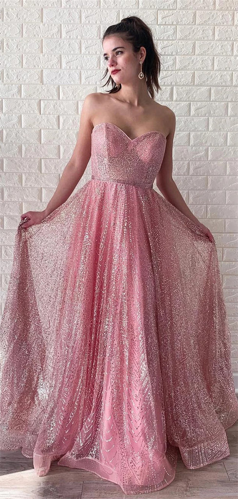 Unique Newest A-line Sweetheart Sparkly Long Prom Dresses, PD0562