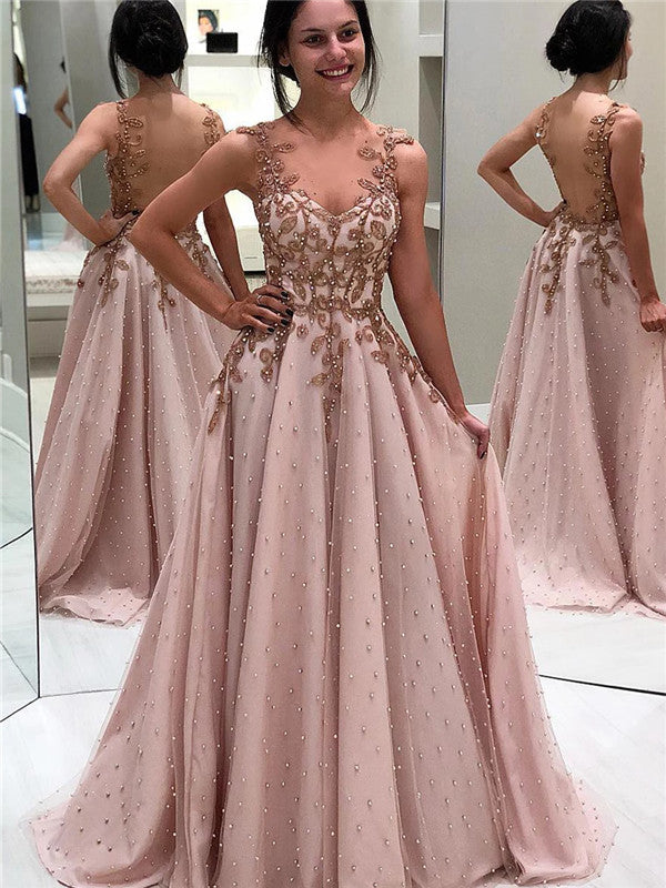 A-line V-neck Beading And Appliques Long Tulle Prom Dresses, PD0563