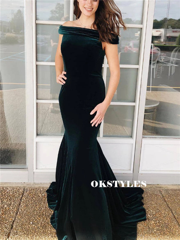 Mermaid Off-shoulder Long Dark Green Velvet Prom Dresses, PD0597