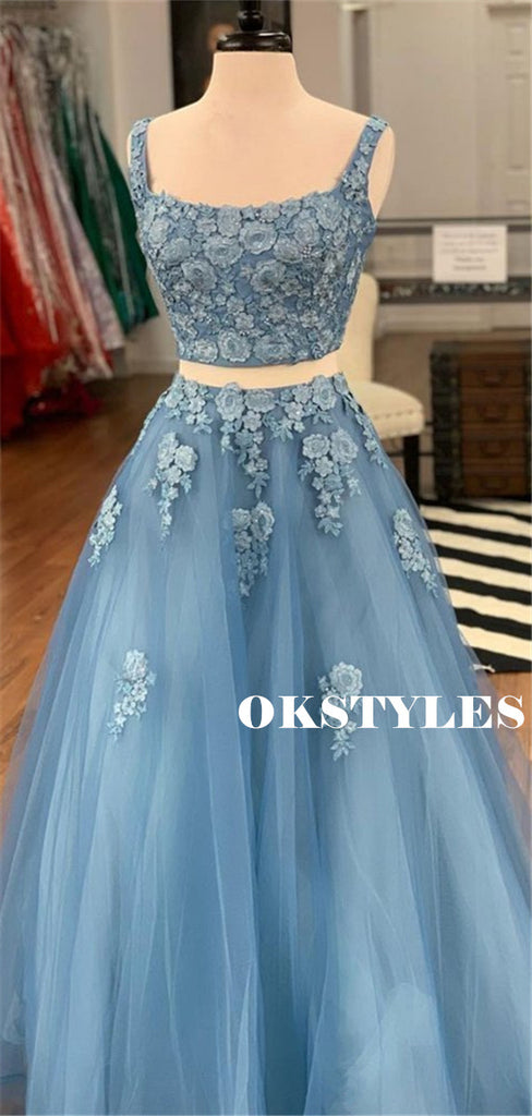 Two-pieces A-line Sleeveless Appliques Long Tulle Prom Dresses, PD0613