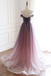 A-line V-neck Off-shoulder Long Organza Prom Dresses With Pleats, PD0616