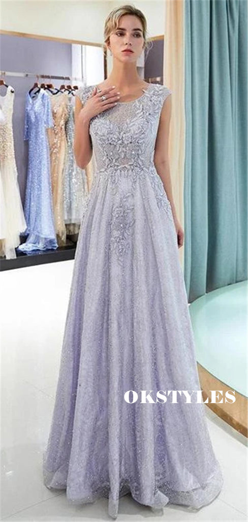 A-line Round Neck Cap-sleeves Appliques Sparkly Prom Dresses, PD0618