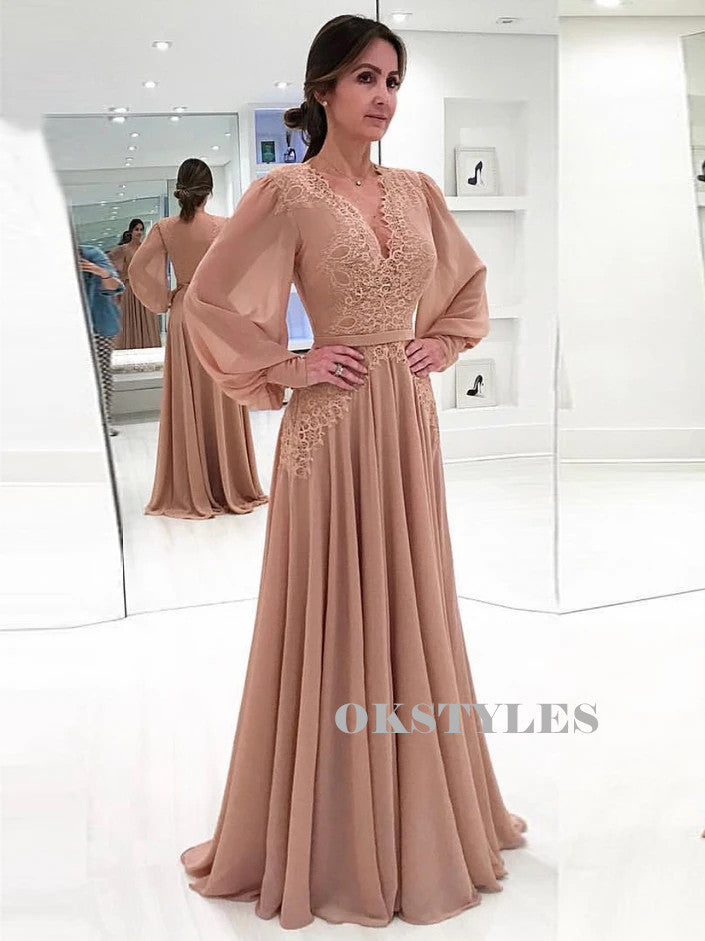 A-line V-neck Long Sleeves Lace Appliques Long Prom Dresses, PD0621