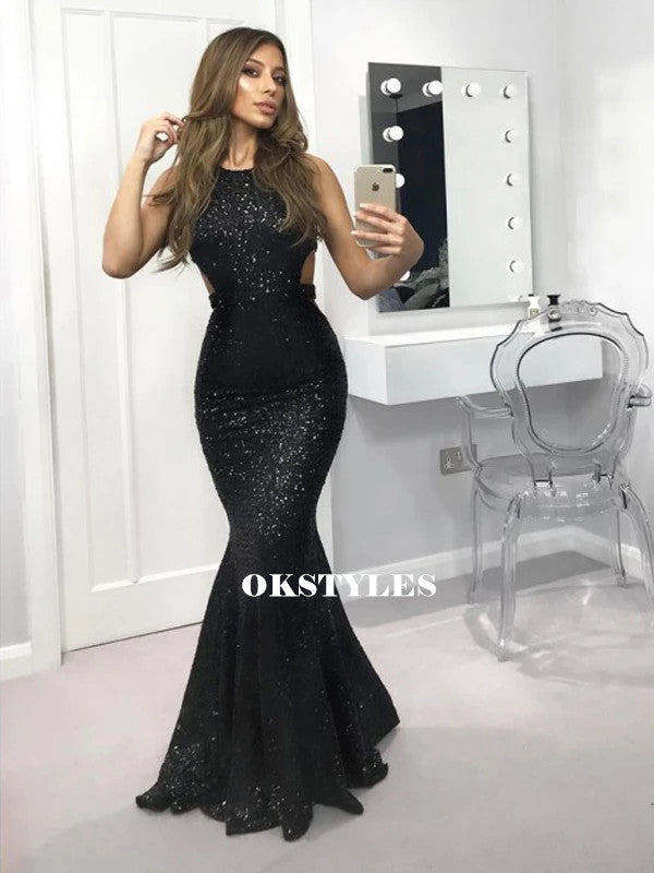 Mermaid Sleeveless Long Black Sequins Sexy Prom Dresses, PD0627