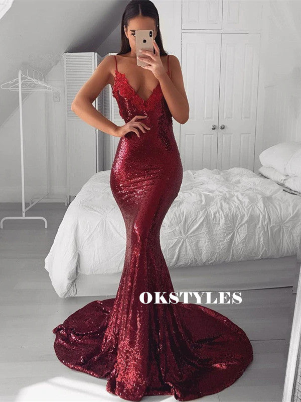 Mermaid Straps Lace Deep V-neck Backless Burgundy Sequins Prom Dresses, PD0631