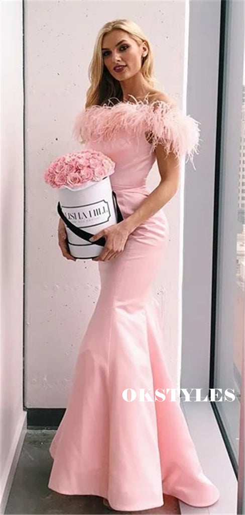 Mermaid Off-shoulder Long Pink Satin Prom Dresses, PD0638