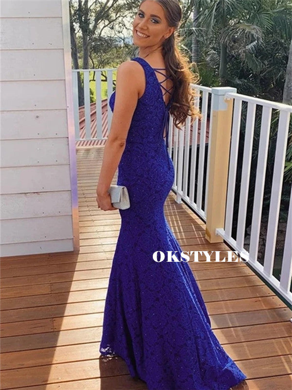 Mermaid V-neck Lace-up Back Full Lace Blue Prom Dresses, PD0642