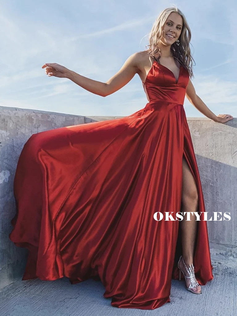 A-Line V-Neck Lace-up Back Red Satin Prom Dresses With Split, PD0649