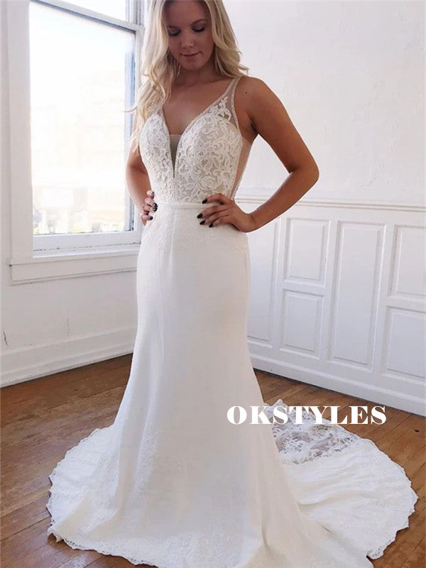 Mermaid SLeeveless V-neck Light Ivory Lace Prom Wedding Dresses, PD0650