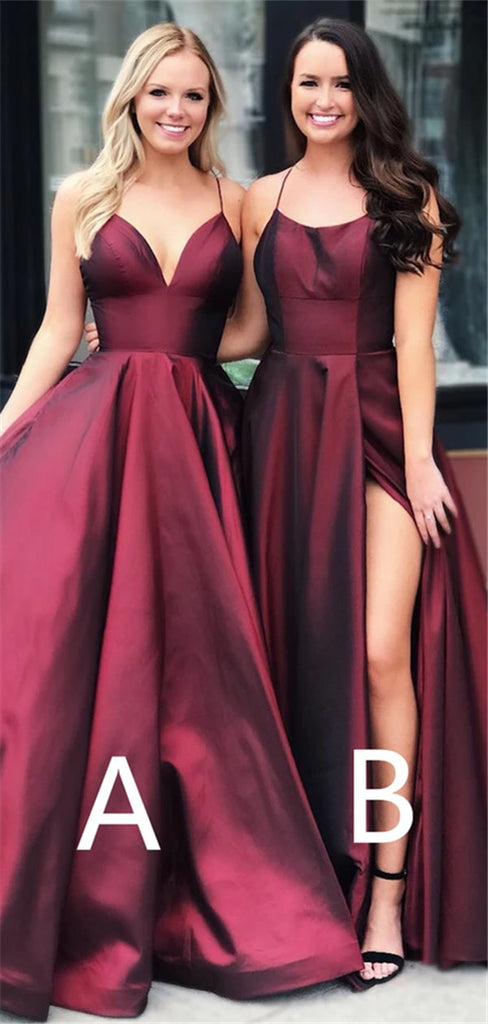 A-line Spaghetti Straps Burgundy Long Elegant Prom With Split, PD0651