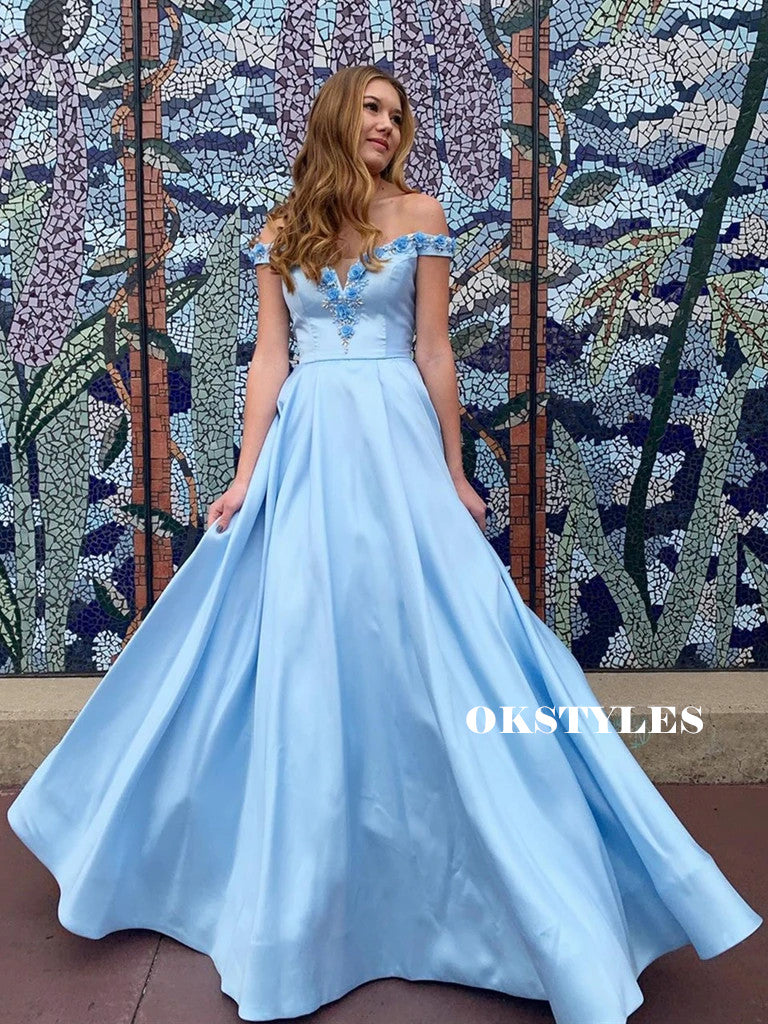A-line Off-shoulder Flower Appliques Long Blue Prom Dresses, PD0652