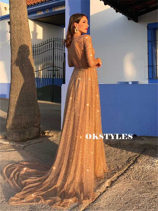 Sparkly A-line V-neck 3/4 Sleeves Open-back Long Prom Dresses, PD0653
