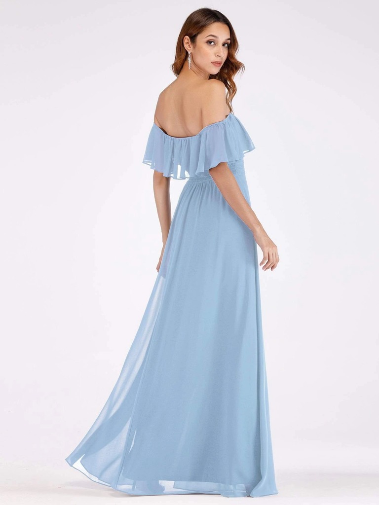 A-line Off-shoulder Floor-length Chiffon Bridesmaid Dresses With Split,  BD0616
