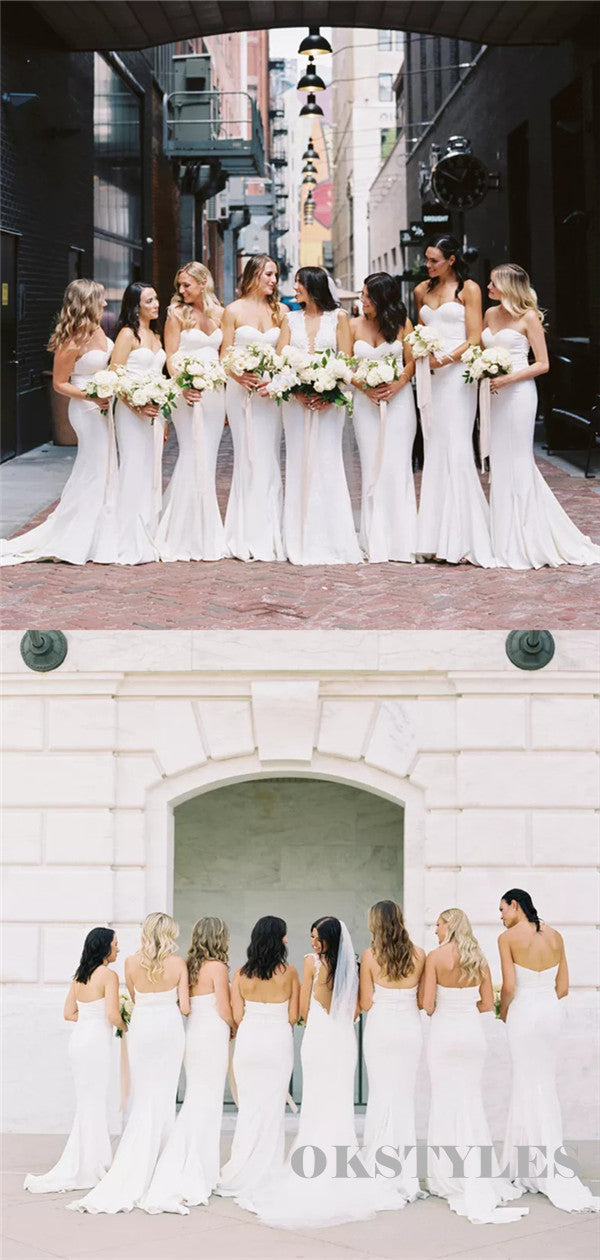 Mermaid Sweetheart Simple White Long Bridesmaid Dresses With Train  BD0617