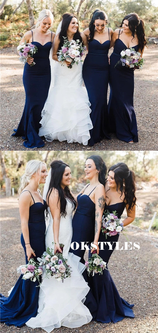 Sweetheart Mermaid Spaghetti Straps Long Simple Bridesmaid Dresses, BD0623
