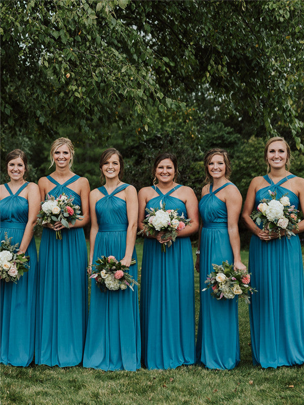 A-line Floor-length Sleeveless Long Blue Bridesmaid Dresses, BD0624