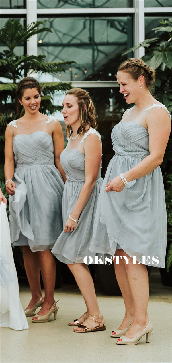 A-line Beteau Neck Appliques Short Chiffon Bridesmaid Dresses With Pleats, BD0629
