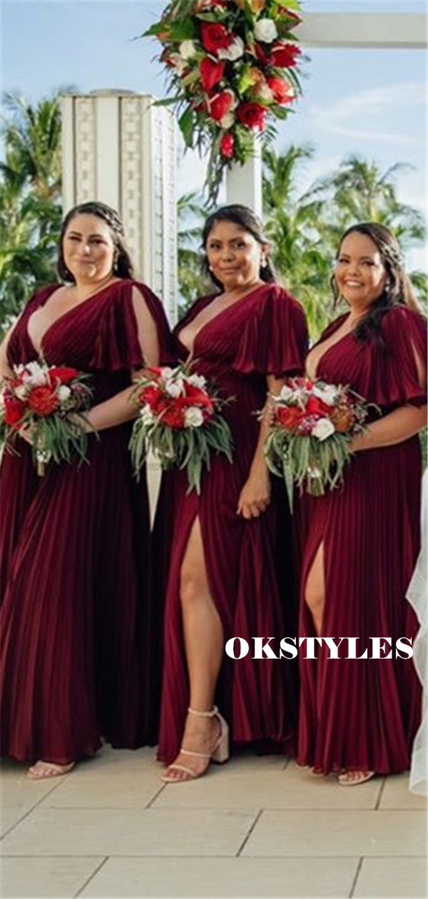 A-line V-neck Short Sleeves Split Long Bridesmaid Dresses With Pleats, BD0630