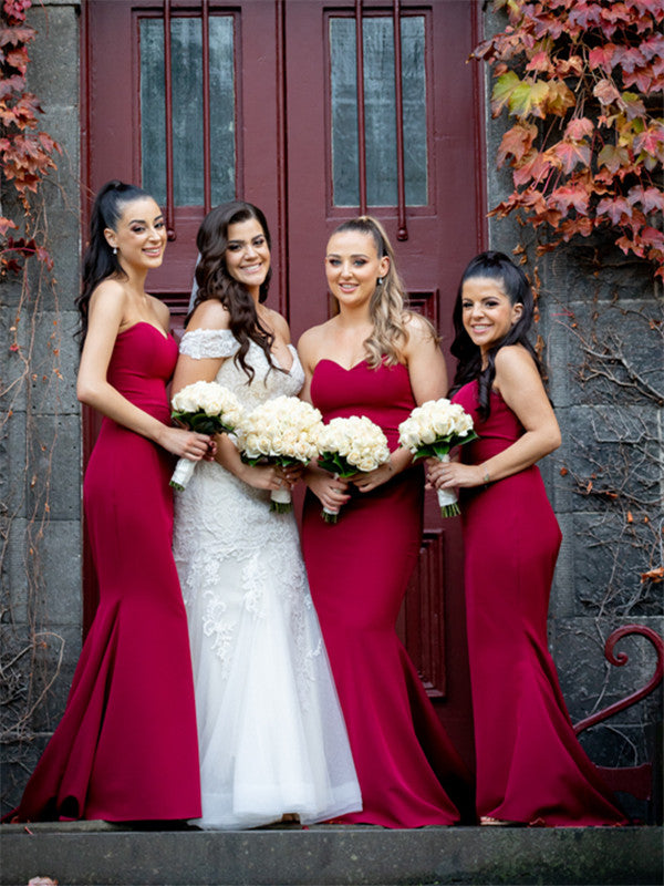 Mermaid Sweetheart Strapless Long Simple Stain Bridesmaid Dresses, BD0633