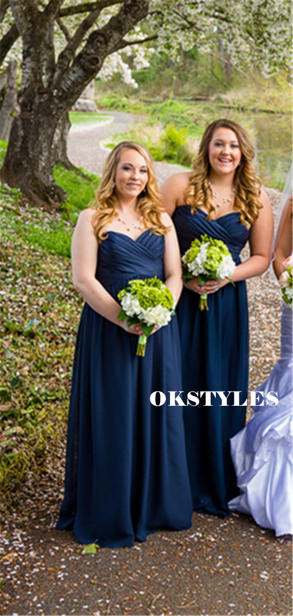 A-line Sweetheart Strapless Long Chiffon Bridesmaid Dresses With Pleats, BD0635
