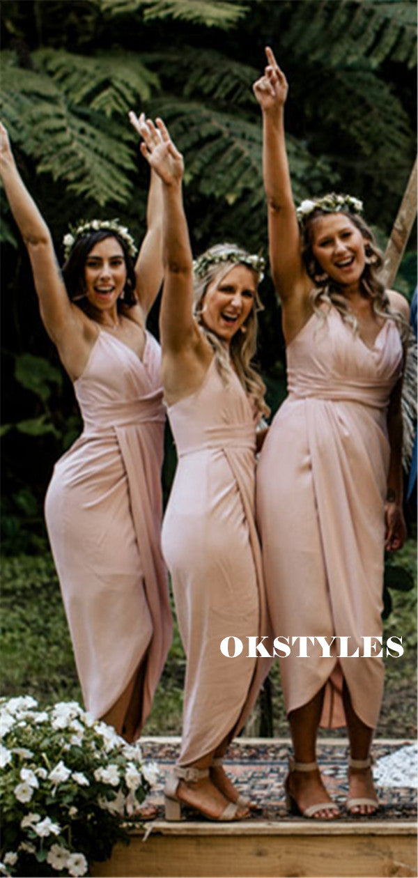 Sheath Spaghetti Straps V-neck Short Bridesmaid Dresses With Pleats, BD0639