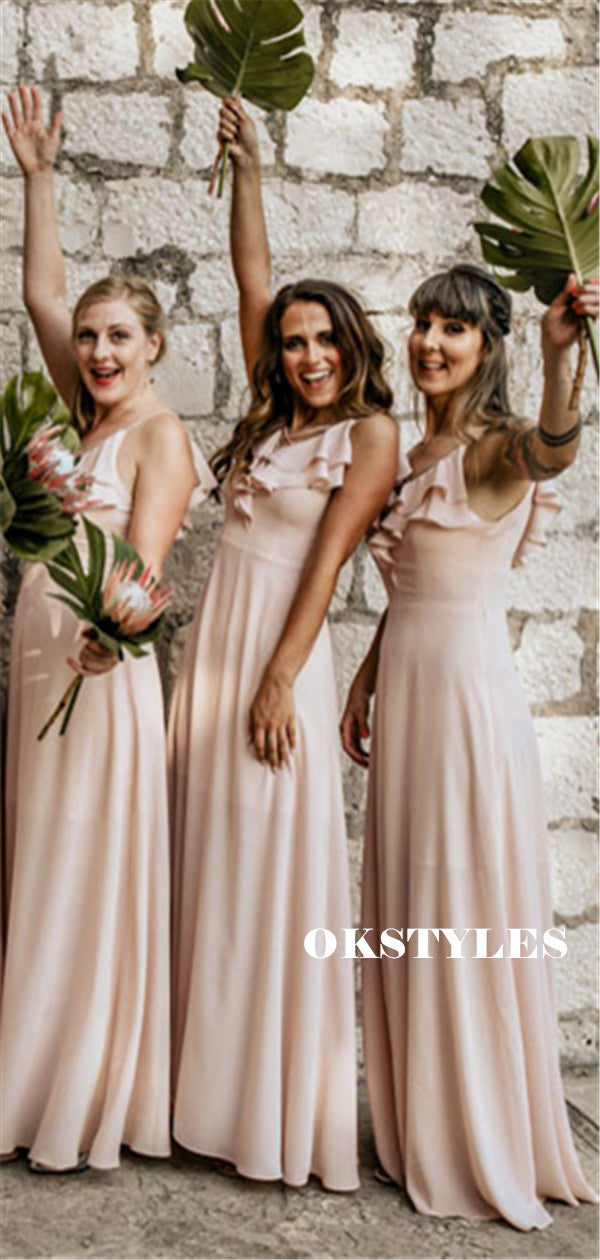 A-line Spaghetti Straps V-neck Long Chiffon Bridesmaid Dresses With Ruffless, BD0640