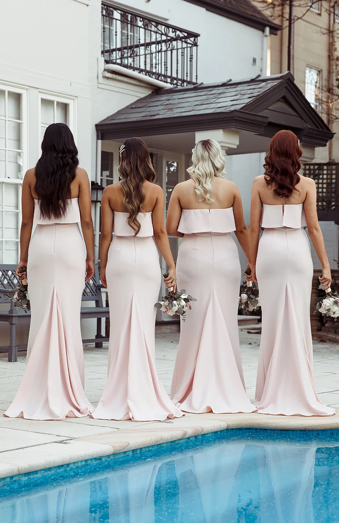 Mermaid Strapless Simple Long Bridesmaid Dresses With Train, BD0642