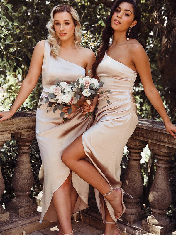 Sheath One-shoulder Ankle-length Split Bridesmaid Dresses With Pleats, BD0644