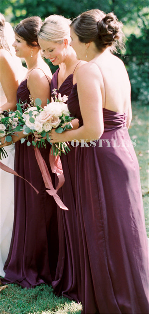 A-line Spaghetti Straps V-neck Long Chiffon Bridesmaid Dresses, BD0647