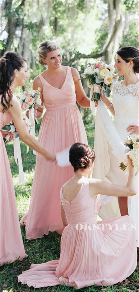 A-line Floor-length V-neck Sleeveless Long Pink Chiffon Bridesmaid Dresses, BD0648