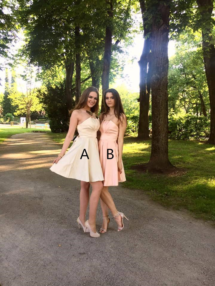 A-line Strapless Lace-up Back Short Bridesmaid Dresses With Bow, BD0612
