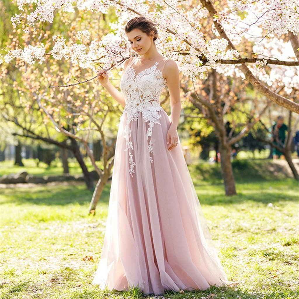 A-line Floor-length tulle Appliqued Scoop-Neck evening, long prom dresses, PD0514