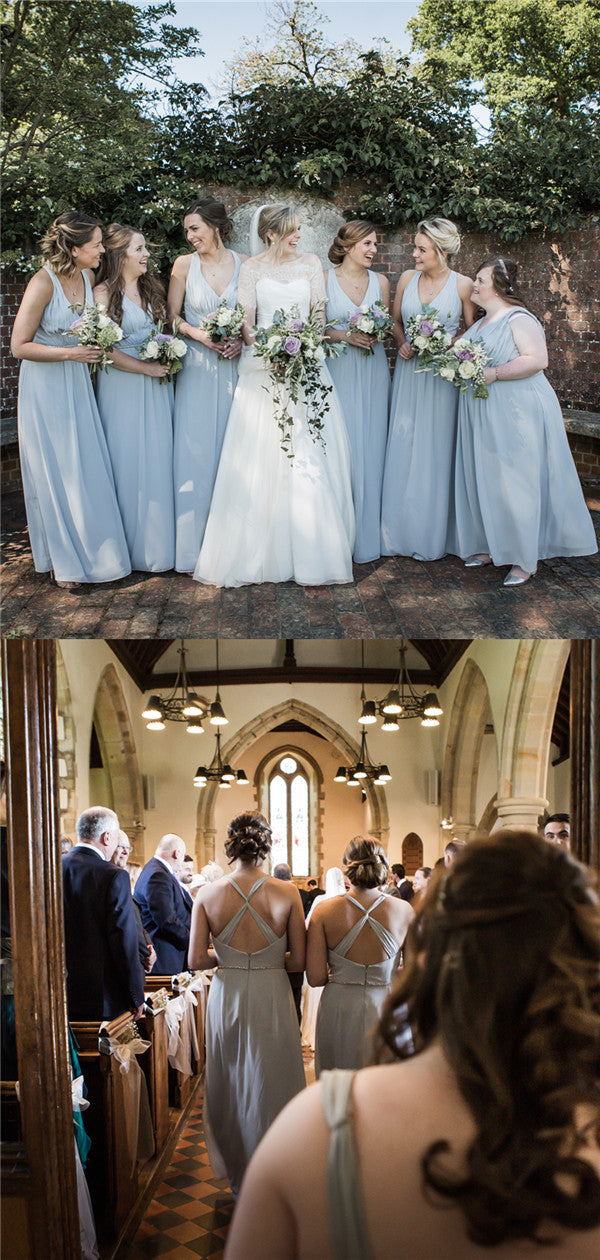 A-line Floor-length V-neck Backless Long Chiffon Bridesmaid Dresses, BD0610