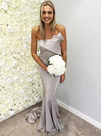 Mermaid Strapless Sleeveless Long Grey Bridesmaid Dresses, BD0567