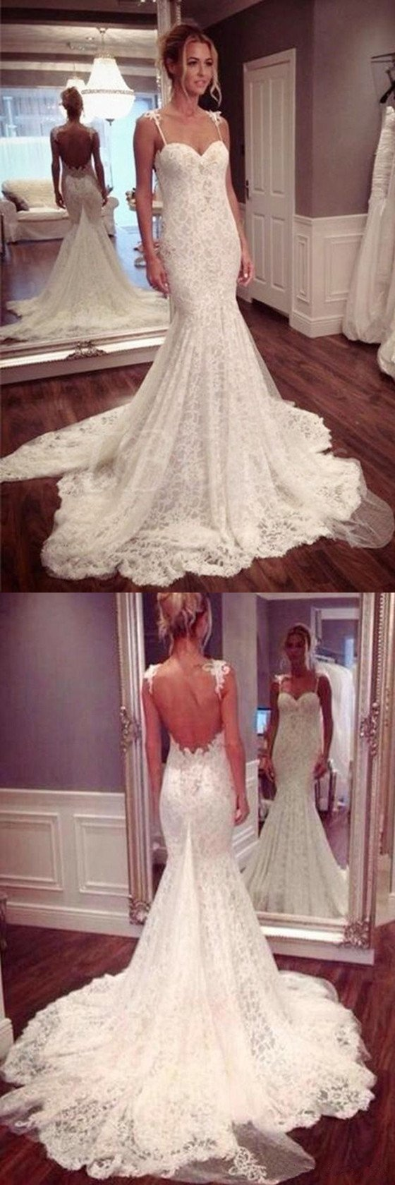Charming Sexy Backless Spaghetti Straps Sweetheart Mermaid Long Wedding Dress, WD0376